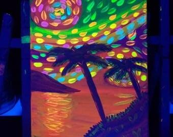Van Gogh inspired neon blacklight painting 9x12