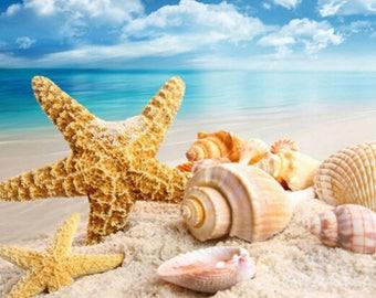 DIY diamond cross stitch sea shells starfish landscape home decoration full diamond mosaic 5D diamond embroidery