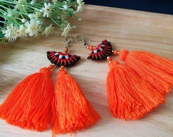 Handcraft Embroidered Tribal Ethnic Earrings Statement Dangle Drop Boho Chic Orange Beaded Tassel Earrings