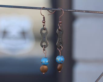 Recycled Bike Chain Earrings Copper with Bead Detail