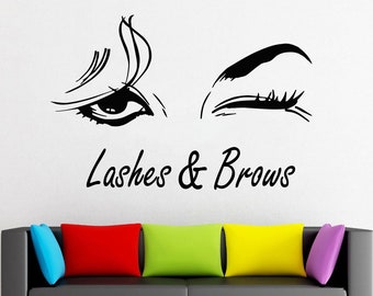 Wall Decal Window Sticker Beauty Salon Woman Face Eyelashes Lashes Eyebrows Brows t663