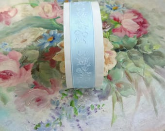 """Vintage Satin Embroidered Light Blue Ribbon Bouquet of Roses 18 yds 7/8"""" wide Rolled w Paper New Old Stock unused"""