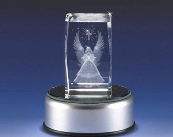 3D Glass Laser Cube Angel