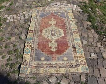 Organic root color turkish rug, Free Shipping  3.1 x 5.9 ft. pastel color oushak rug, cropped rug, bohemian rug, bathroom rug, MB437