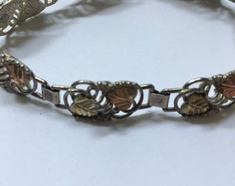 Sterling Silver and Black Hills Gold Bracelet