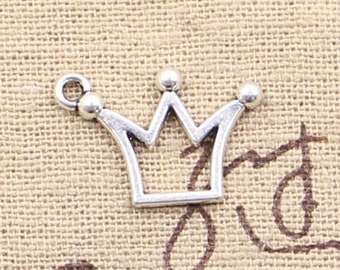 Easter Sale 12 Crown Charm Pendant 20mm x 13mm -  - Jewelry Making