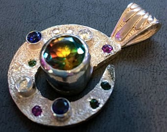 Silver Pendant with Colorful Synthetic Stones