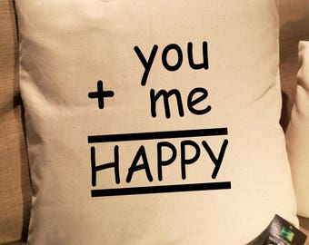 You + Me = Happy, Personalised Cushion Cover. Fairtrade Cotton.