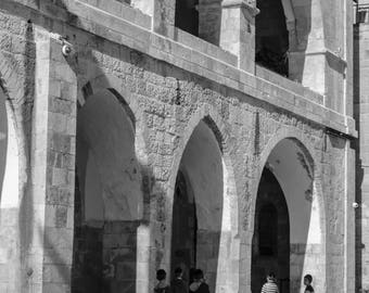 Old City in Jerusalem Black and White Photo Print