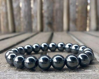 10mm Black Hematite Stretch Bracelet