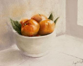 Pastel still life of Tangerines in a white bowl (original)