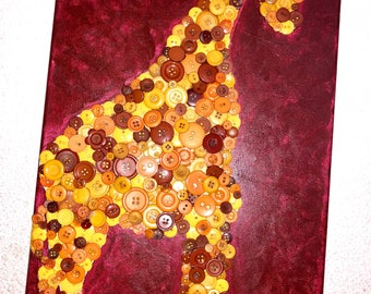 "Giraffe Button Art Wall Decor- 12x24"" Red Orange and Gold Wall Hanging, Home Decor"