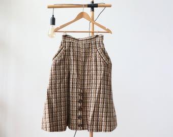 1940s Brown Wool Houndstooth Skirt