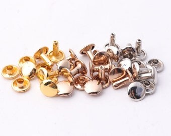 50pcs Double Cap Rivets 9mm rivets Rose gold rivet gold rivet silver rivet Rapid Rivets Leathercraft Rivet for Handbags Belts Bags Shoes