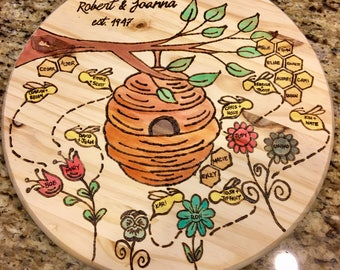 """Personalized wood burned 15"""" FAMILY TREE"""