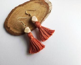 Orange Tassel Earrings with Bead