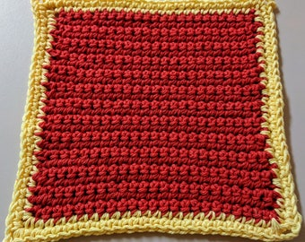 Red and Yellow 100% Cotton Washcloth or Dishcloth