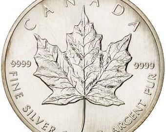 canada elizabeth ii 5 dollars 1988 1 oz ms(63) silver km163