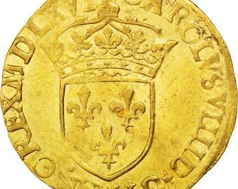 france ecu d'or 1566 paris au(50-53) gold sombart #4904 3.38