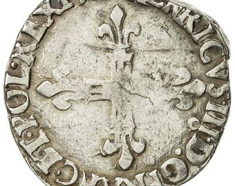 france henri iii 1/4 ecu 1588 rennes vf(30-35) silver sombart4662