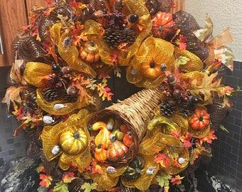 Fall Wreath, Harvest Wreath, Fall Deco Mesh Wreath, Pumpkin Wreath, Fall Cornucopia Wreath, Fall Harvest Swag, Thanksgiving Wreath
