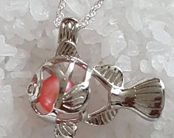 925 Sterling Silver Clown Fish Cage Pendant with or without Pearl