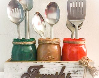 Mason Jar Utensil holder, Kitchen Decor, Table Centerpiece, Farmhouse Decor