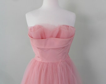 1950-60s Pink Tulle and Teffeta Dress, Prom Ready!