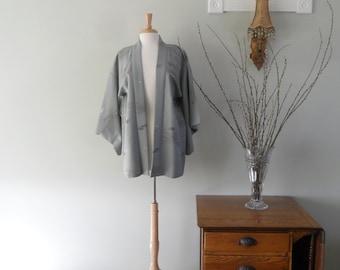 Gorgeous Silk Kimono Jacket in Gray |  Fully Lined