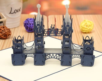 London Bridge 3D Pop Up Card, Birthday Card,Valentine's Day Card,Wedding Card, Valentine's gift