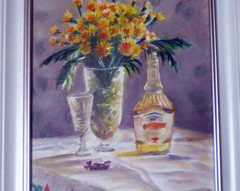 spring still life dandelions wine glass oil realism