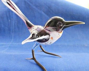 Hand Blown Czech Glass bird - Wagtail