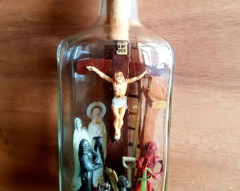 Religious bottle Mariner passion french antique reliquary rare hand made