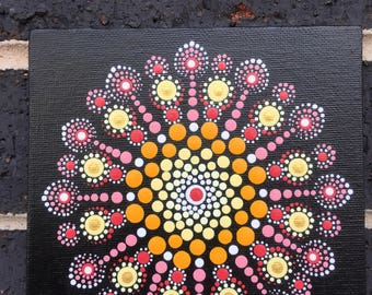 Mandala #A007 6X6 Thin Hand Painted Mandala Canvas Dot Art