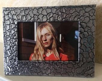 "4"" x 6"" photo frame, ""alligator"" pattern, traditional repujado"