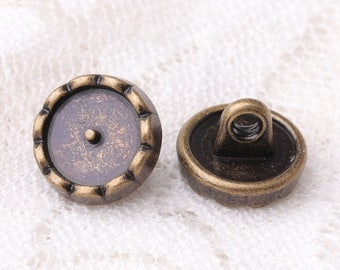 fashion flower button 10pcs 10*7mm round zinc alloy button bronze color shank button