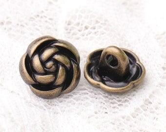 flower buttons fashion buttons 10pcs 10*7mm metal buttons bronze buttons shank buttons decorative clothing buttons
