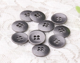 metal buttons 10pcs 12mm 4 holes sewing buttons round light black buttons shirt buttons coat buttons cardigan buttons