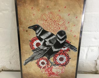 Limited Crow tea party print. By Jo Chastney