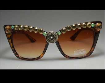 One Of A Kind, Brown, Leopard, Champagne, Bling, Sunglasses