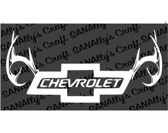 Chevrolet Bow-tie and Deer Antlers Vinyl Decal