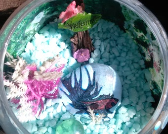 Hand painted beta with fish bowl