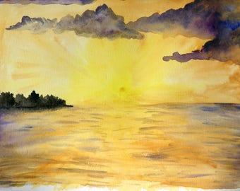 Golden Sunset Original 9x12 Watercolor
