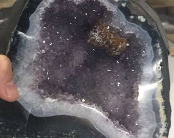 CATHEDRAL AMETHYST AGATE with small citrine cluster unique