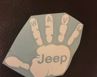 JEEP WAVE DECAL Vinyl 2pack 4.5 inch x 4 inch