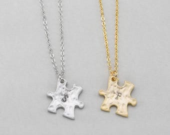 Personalized Puzzle necklace with gold PN021