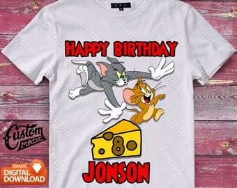Tom and Jerry Iron On Transfer, Tom and Jerry Birthday Shirt DIY, Tom and Jerry Shirt Designs, Tom and Jerry, Personalize, Digital