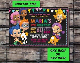 Bubble Guppies Invitation,Bubble Guppies Birthday,Bubble Guppies Birthday Invitation,Bubble Guppies Party,Bubble Guppies,Digital Print