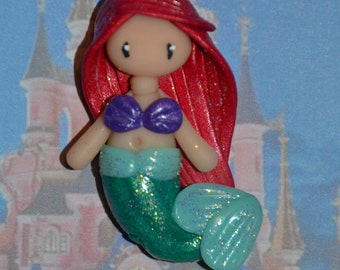 Hand made poppet with polymer clay depicting Ariel Mermaid - Disney Princess Collection - gem version