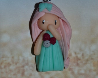Poppet with polymer clay green dress, pink hair - Collection bridesmaid jewelry - jewelry handmade